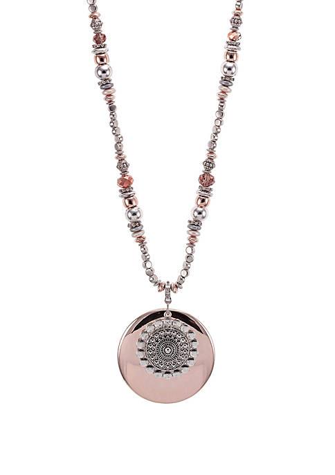 2-Tone Large Layered Pendant Necklace