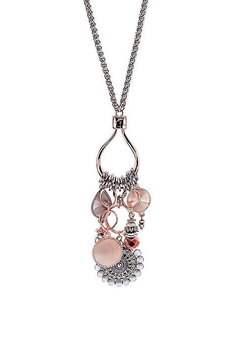 Ruby Rd 2-Tone Long Fringe Tassel Necklace