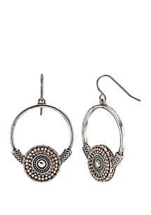 2-Tone Bottom Disc Hoop Earrings
