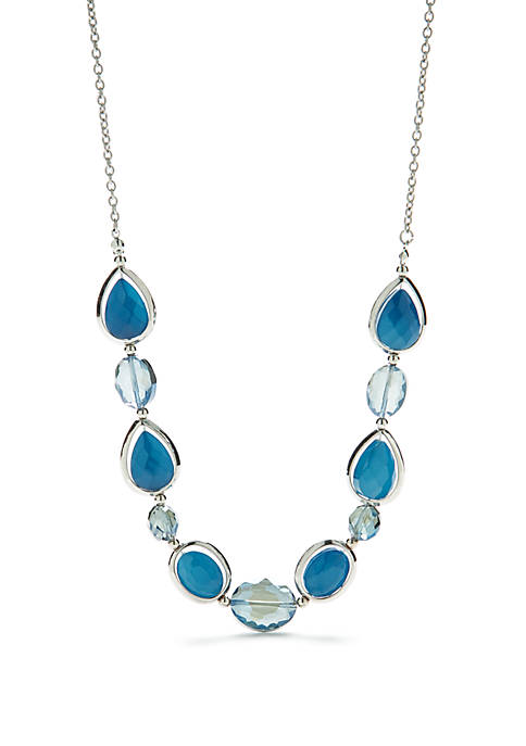 Silver-Tone 3 Row Beaded Necklace