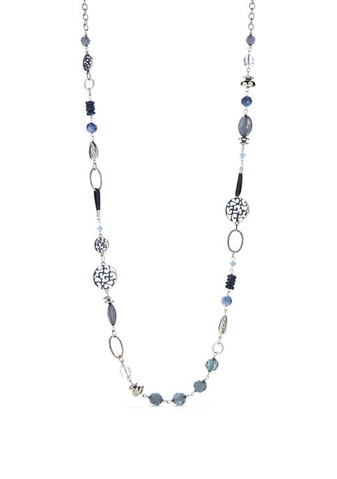 Silver-Tone Disc Beaded Link Necklace