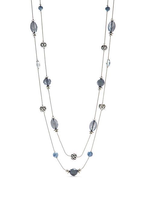 Silver-Tone 2 Row Illusion Necklace