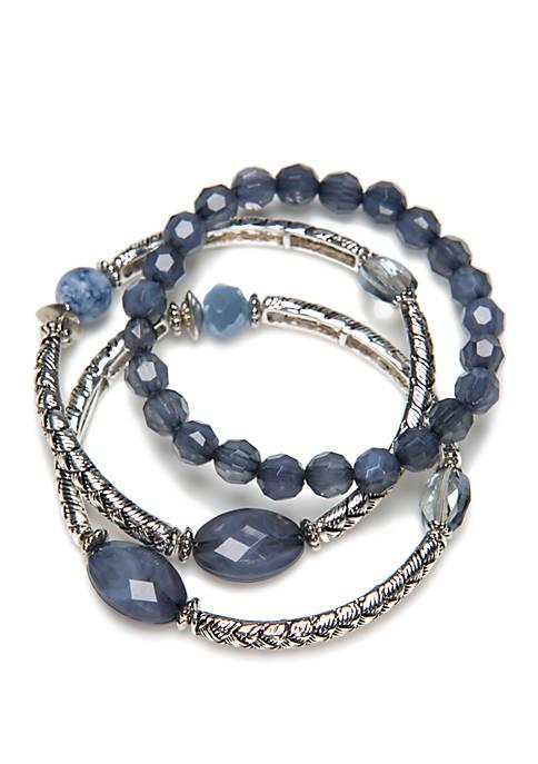 Silver-Tone 3 Row Stretch Bracelet