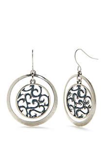 Silver-Tone Orbital Drop Earrings