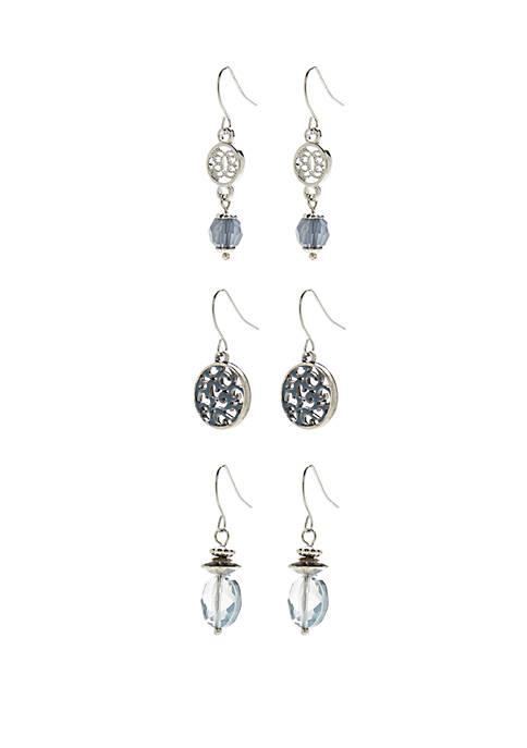 Silver-Tone Set of 3 Drop Earrings