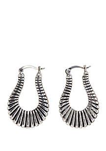 Silver-Tone Ridge Hoop Earrings