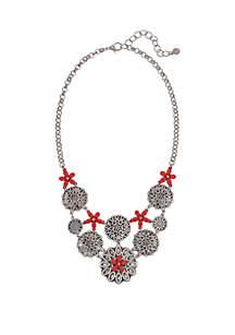 Silver-Tone Flower Statement Necklace