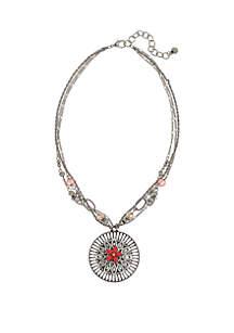 Silver-Tone Flower Pendant Necklace