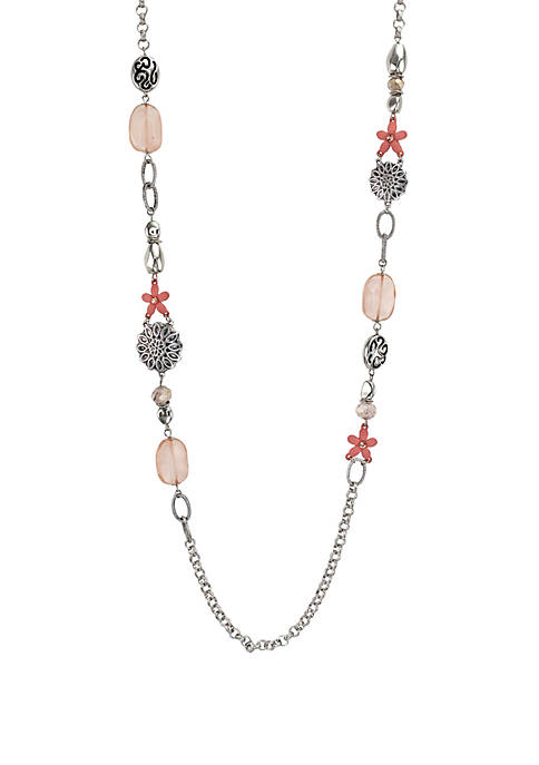 Long Mixed Bead Silver-Tone Necklace