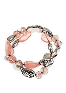 Silver-Tone Beaded 2-Row Stretch Bracelet