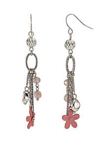 Silver-Tone Chain Fringe Drop Earrings