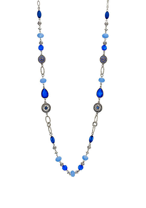 Ruby Rd Blue Linked Silver Tone Necklace