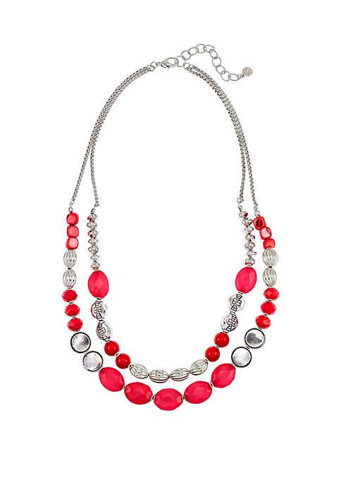 Silver Tone Short 2 Row Beaded Necklace
