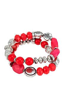 Ruby Rd Silver Tone 2 Row Coral Beaded Stretch Bracelet