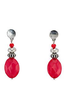 Ruby Rd Silver Tone Coral Bead Drop Earrings
