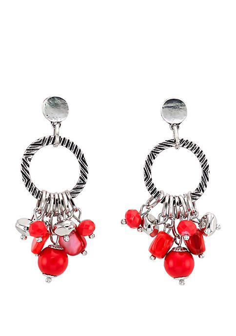 Silver Tone Textured Hoop Coral Bead Fringe Drop Earrings