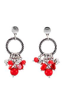 Ruby Rd Silver Tone Textured Hoop Coral Bead Fringe Drop Earrings