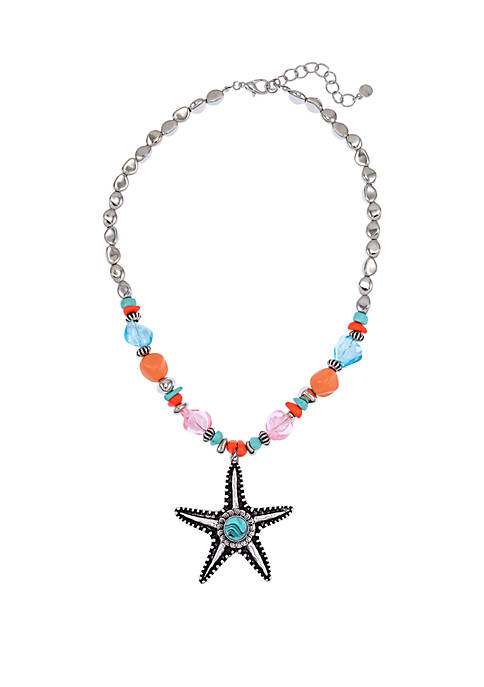 Silver Tone Beaded Starfish Pendant Necklace