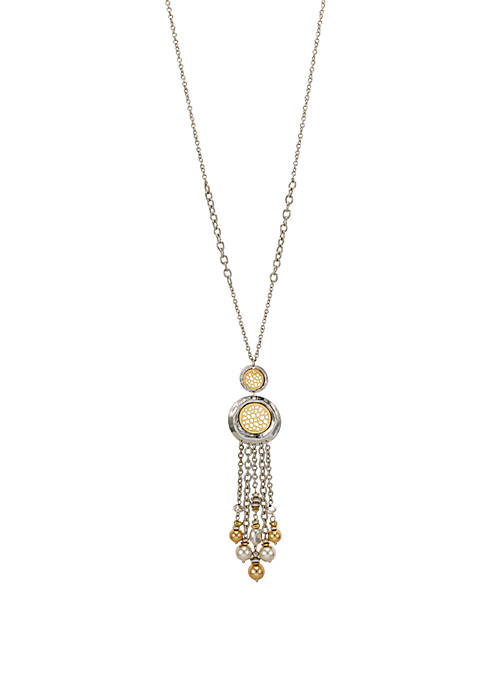 Long Double Disc Necklace with Chain Tassel and Beads