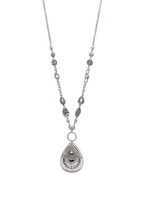 Ruby Rd Silver Long Filigree Teardrop Pendant Necklace