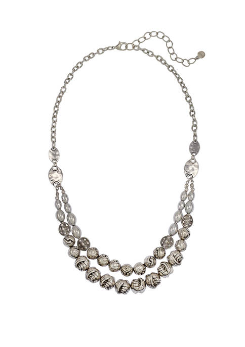 Silver 2 Row Fluted Bead Short Necklace