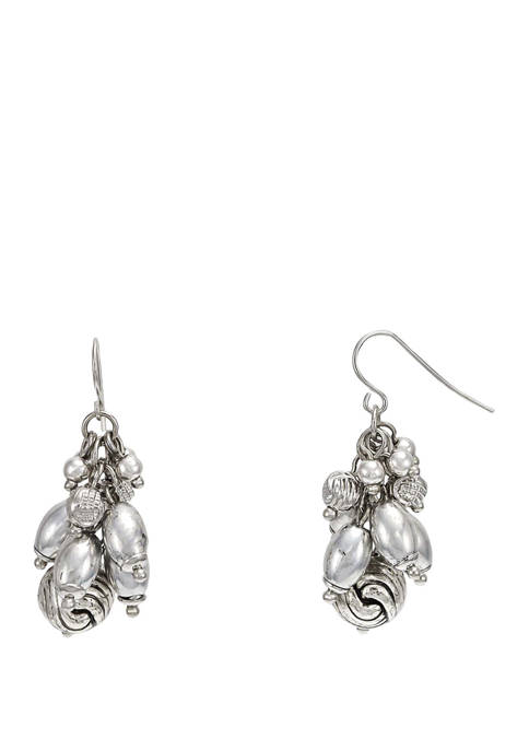 Ruby Rd Silver Cluster Bead Drop Earrings