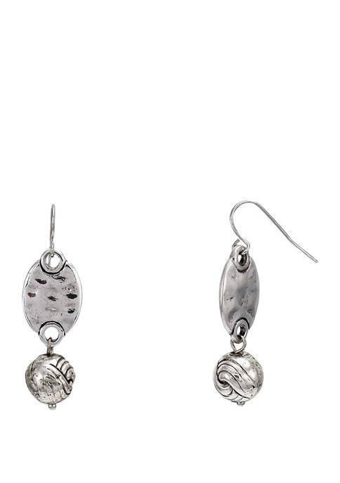 Silver Oval Bead Double Drop Earrings