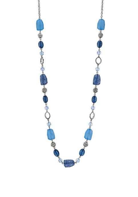 Multicolor Blue 1 Row Long Necklace