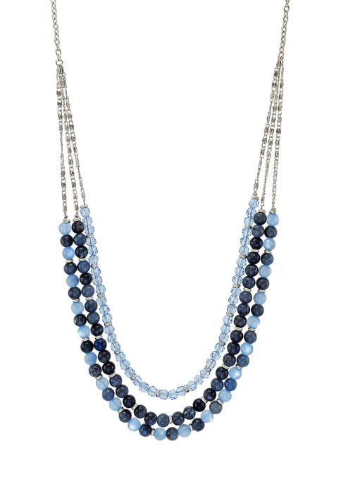 Ruby Rd Multicolor Blue Long 3 Row Necklace