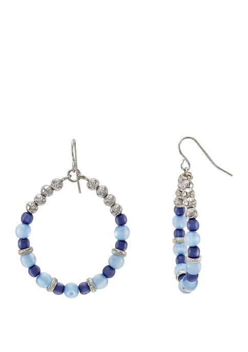 Multicolor Blue Bead Hoop Earrings