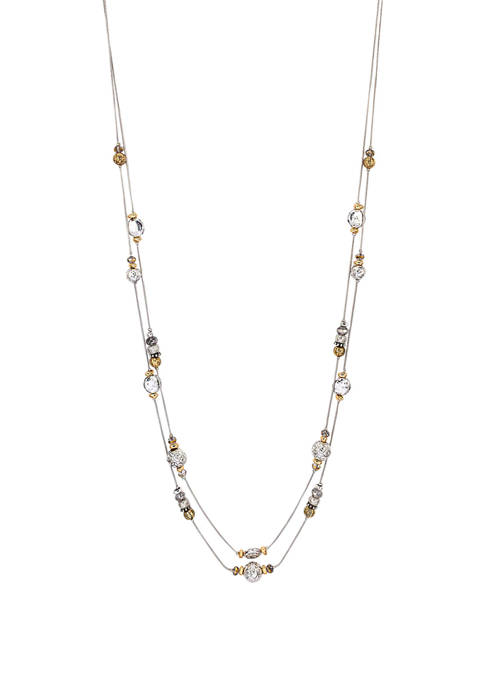 Ruby Rd Two Row Long Illusion Necklace with