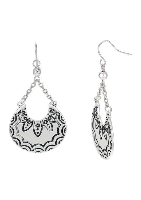 Etched Crescent Chandelier Drop Earrings