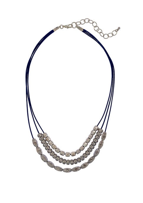 3 Strand Rhodium Plated Necklace