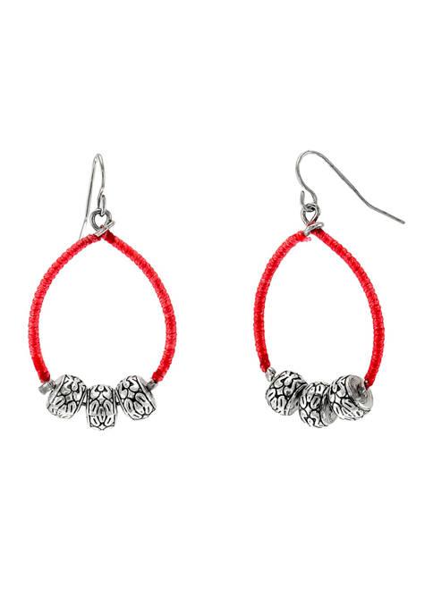 Circle Hoop Earrings with Beads