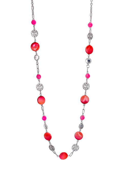 Ruby Rd Linked Shell One Row Long Necklace