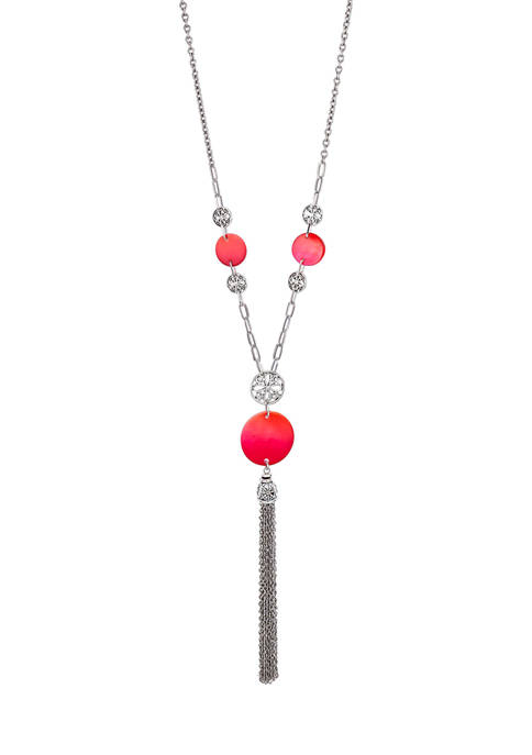 Ruby Rd Double Disc Pendant Tassel Necklace