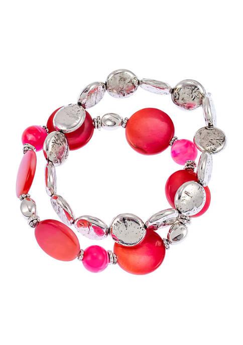 Two Row Stretch Shell Bracelet