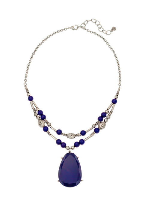 Two Row Navy Pendant Necklace