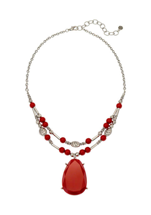 Two Row Red Pendant Necklace