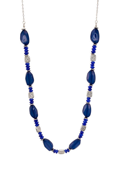 Ruby Rd Long One Row Beaded Navy Necklace