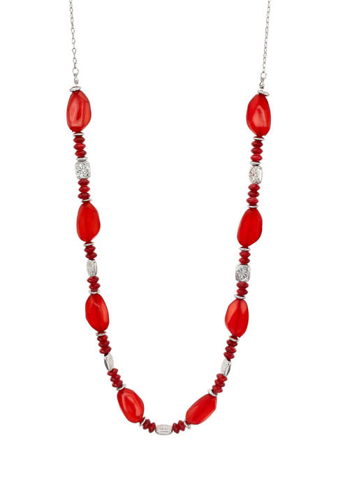 Ruby Rd Long One Row Red Beaded Necklace