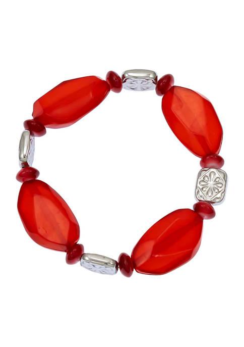 Chunky Red Bead Stretch Bracelet