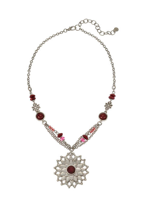 Ruby Rd Flower Pendant Beaded Necklace