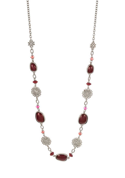 Satin Beaded Long Necklace