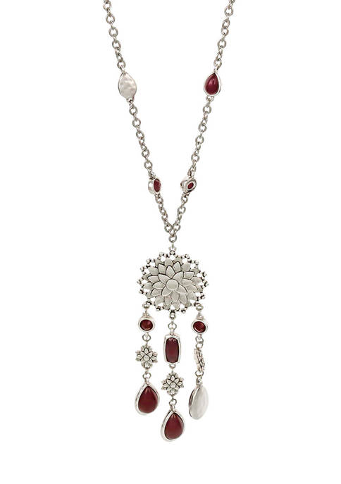 Ruby Rd Long Flower Pendant Necklace with Bead