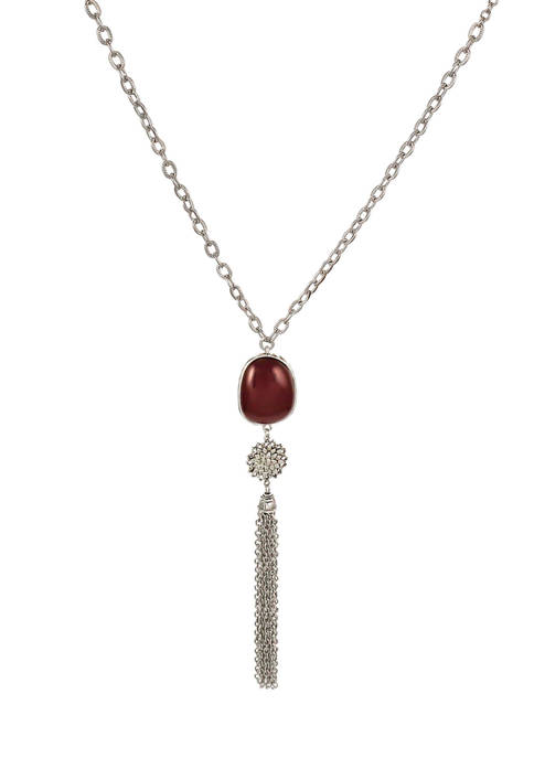 Ruby Rd Satin Bead Long Tassel Necklace