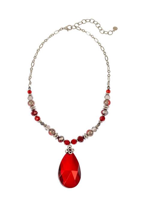 Red Teardrop Pendant Necklace