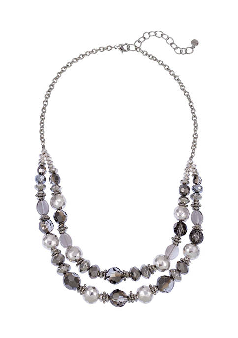 Silver Tone 2 Row Beaded Necklace