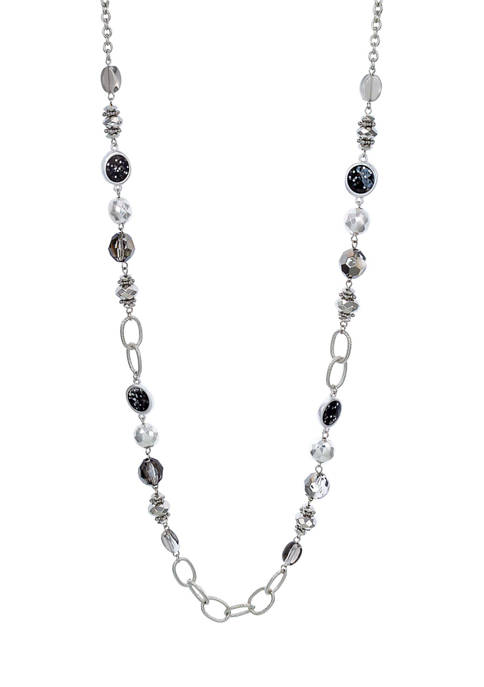 Silver Tone Long Beaded Necklace