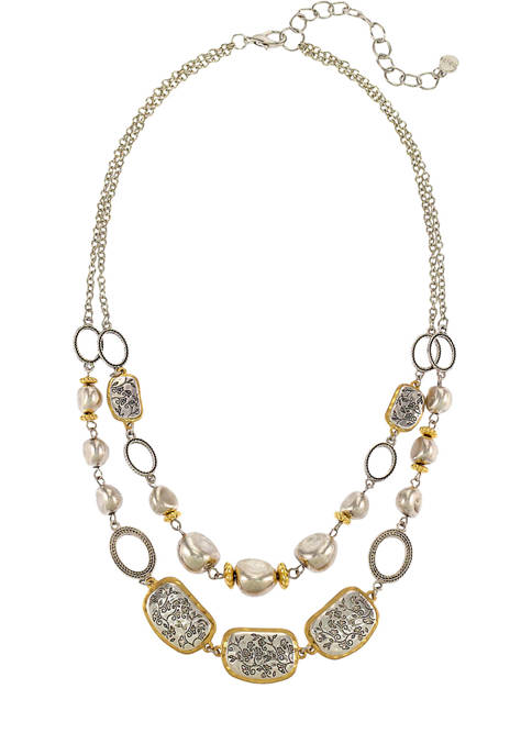Ruby Rd 2 Row Two Tone Necklace